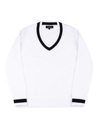 Point V-Neck Knit White / Over Fit